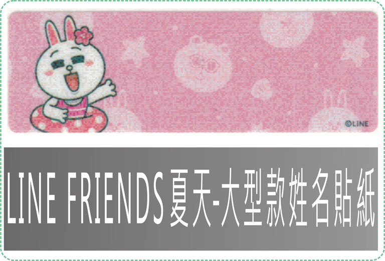 LINE FRIENDS 夏天-大型款姓名貼紙